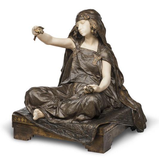 Louis-Ernest Barrias (1841-1905), Jeune fille de Bou-Saada, modèle 1890, bronze Susse frères 1910 et marbre, H.71 x L.69 x P.58 cm, legs Docteur Baillif, inv.48915, dépôt du musée des Arts décoratifs, Paris