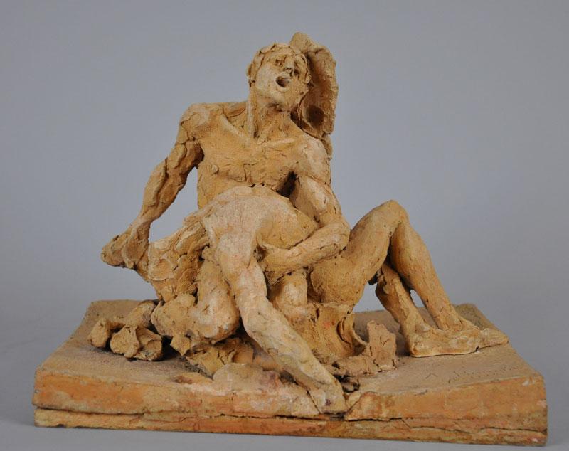 Alfred BOUCHER (1850 - 1934), Groupe de deux hommes, 1884, terre cuite, H.25 L.31,5 P.24 cm, Musée Camille Claudel Nogent-sur-Seine, dépôt du Musée des Arts de l'Enfance, Fécamp en 2000, inv.D2000.14