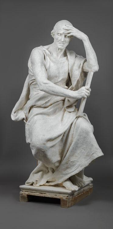 Paul DUBOIS (1829 - 1905), L'étude ou La Méditation, 1878, plâtre, H.164 L.86 P.78,5 cm,  Musée Camille Claudel Nogent-sur-Seine, inv.1905.36, don Madame Veuve Dubois en 1905