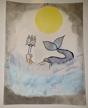 Vous trouverez ci-joint mon dessin sur le thème de la mythologie saurez-vous reconnaître qui se cache derrière? ...C'est Poséidon!      -Aude