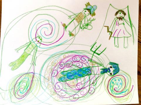... L'écoute du conte de Persée a inspirée ma fille (Elora, 6 ans) qui a voulu de suite représenter plusieurs des dieux de la mythologie grecque qu'elle affectionne tout particulièrement.